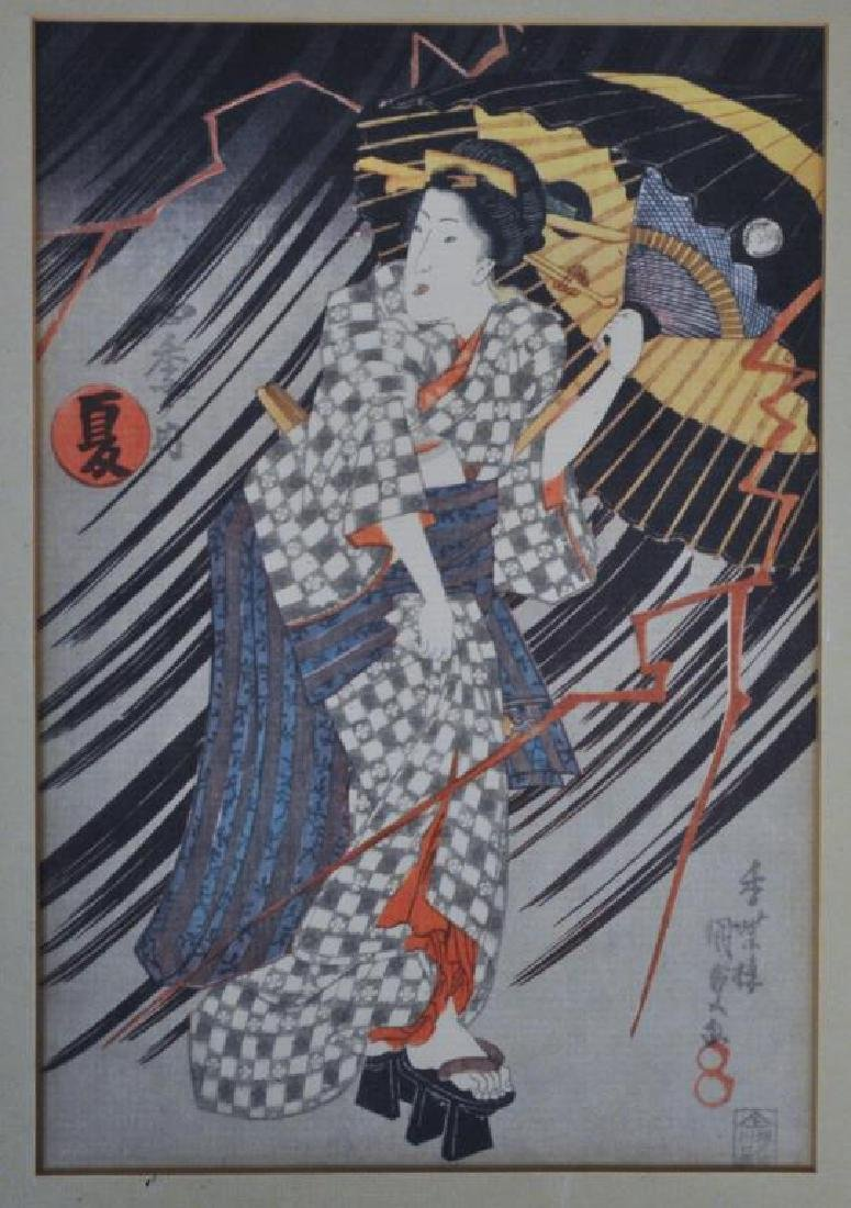 Four Reproduction Japanese Woodblock Prints - 5
