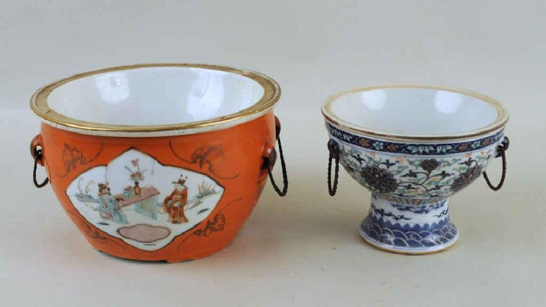 Two Chinese Porcelain Warming Dishes/Tureens