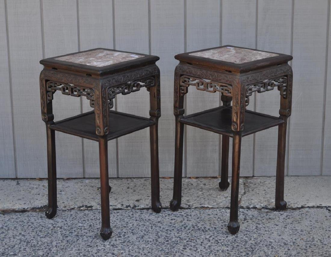 Pair Chinese Carved Hardwood Marble Top Stands