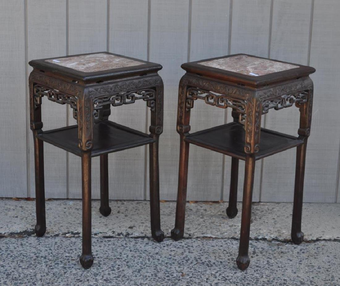 Pair Chinese Carved Hardwood Marble Top Stands - 2
