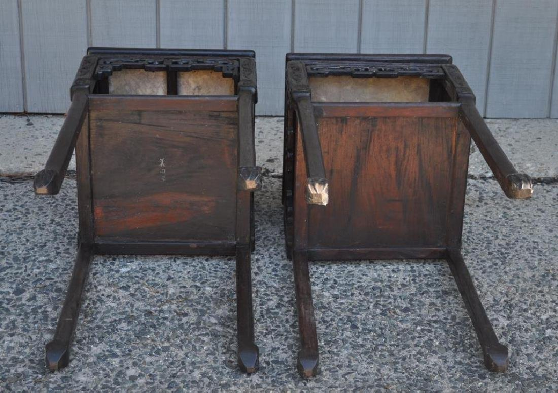 Pair Chinese Carved Hardwood Marble Top Stands - 3