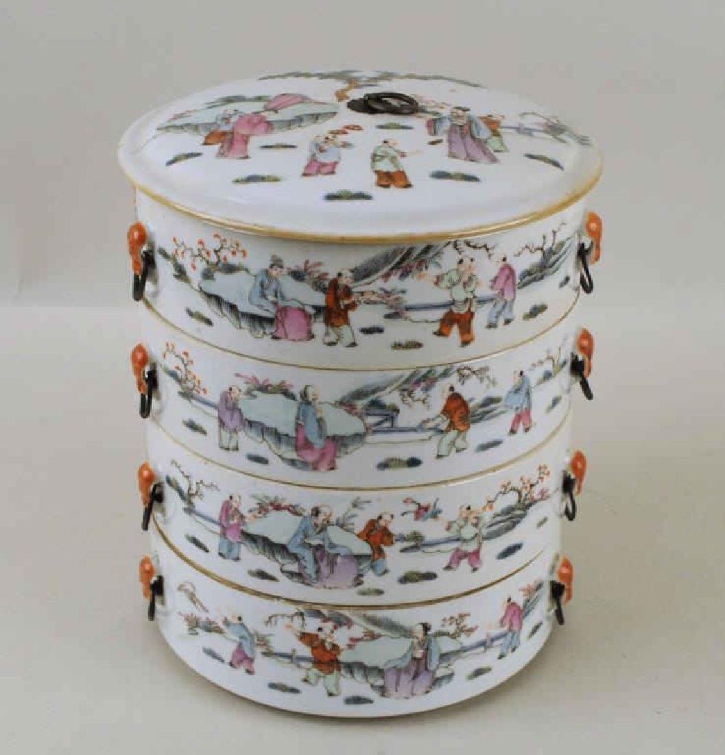 Chinese Porcelain Four-Tier Food Container