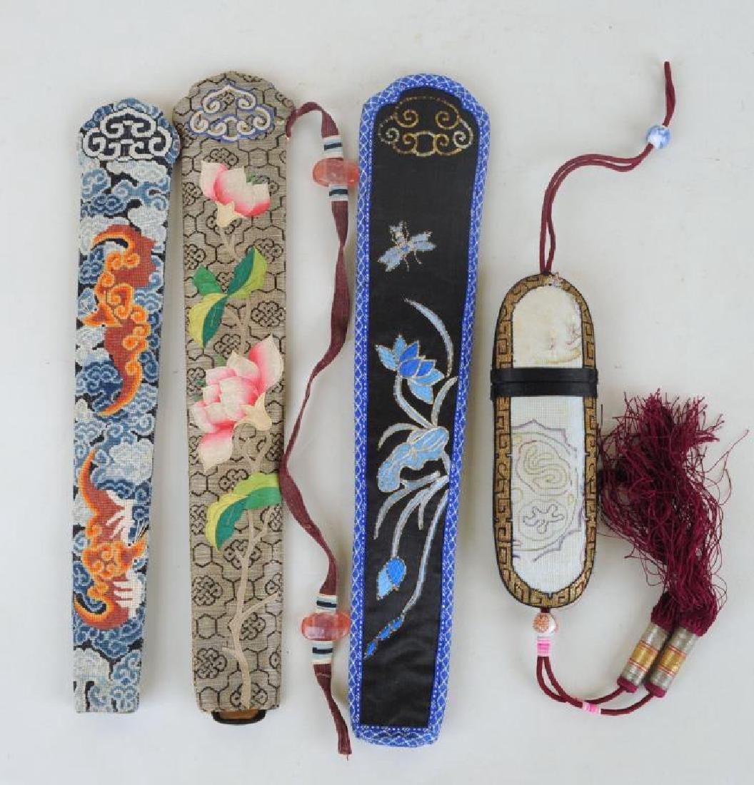 Three Chinese Embroidered Fan Cases & Glasses Case