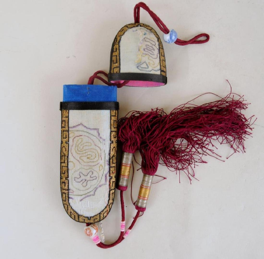 Three Chinese Embroidered Fan Cases & Glasses Case - 3