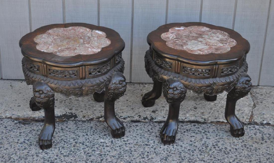 Pair Chinese Hardwood Marble Low Tables