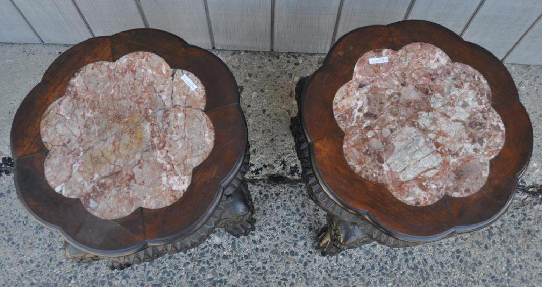 Pair Chinese Hardwood Marble Low Tables - 2