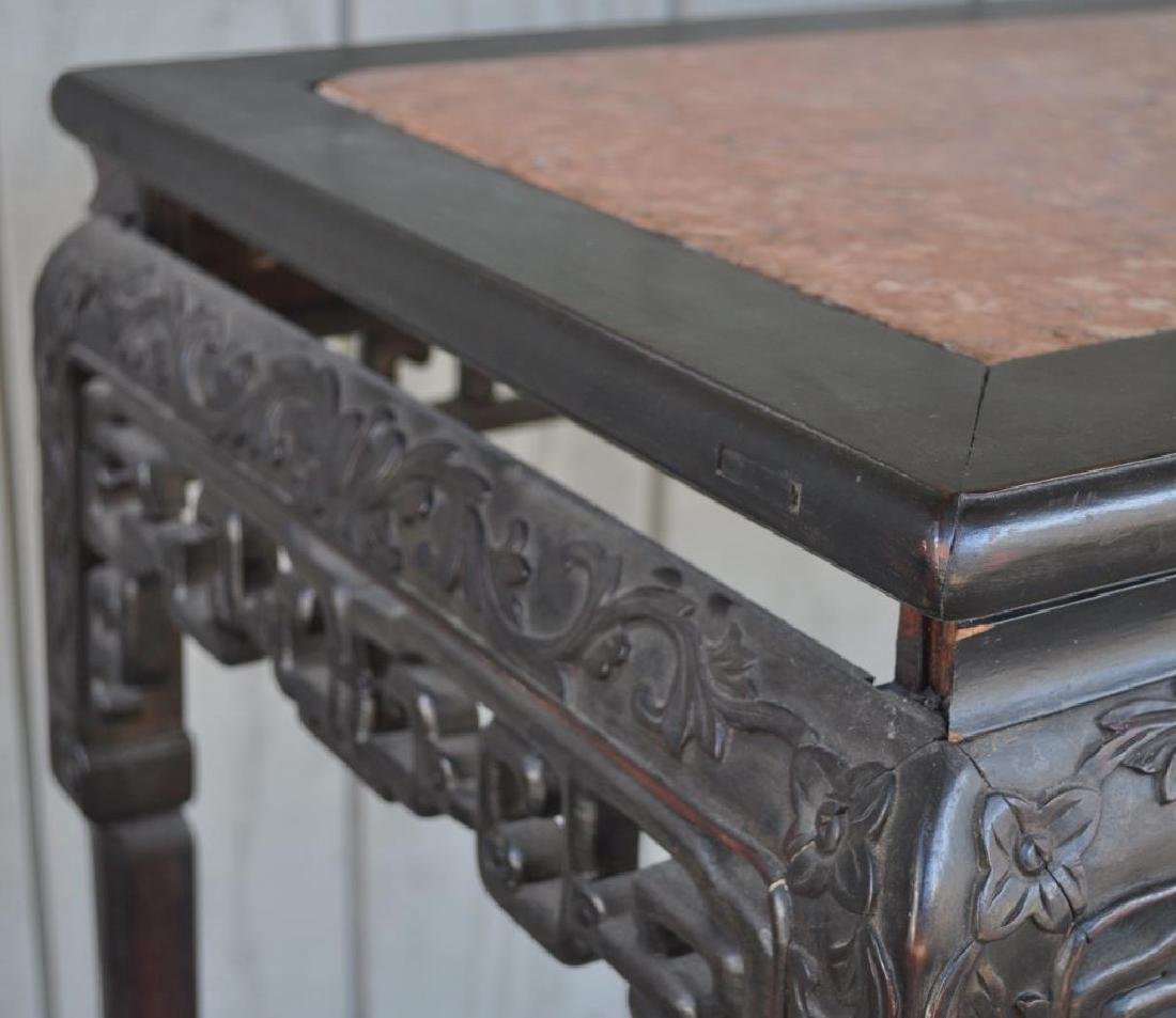 Chinese Carved Hardwood Marble Top Altar Table - 10