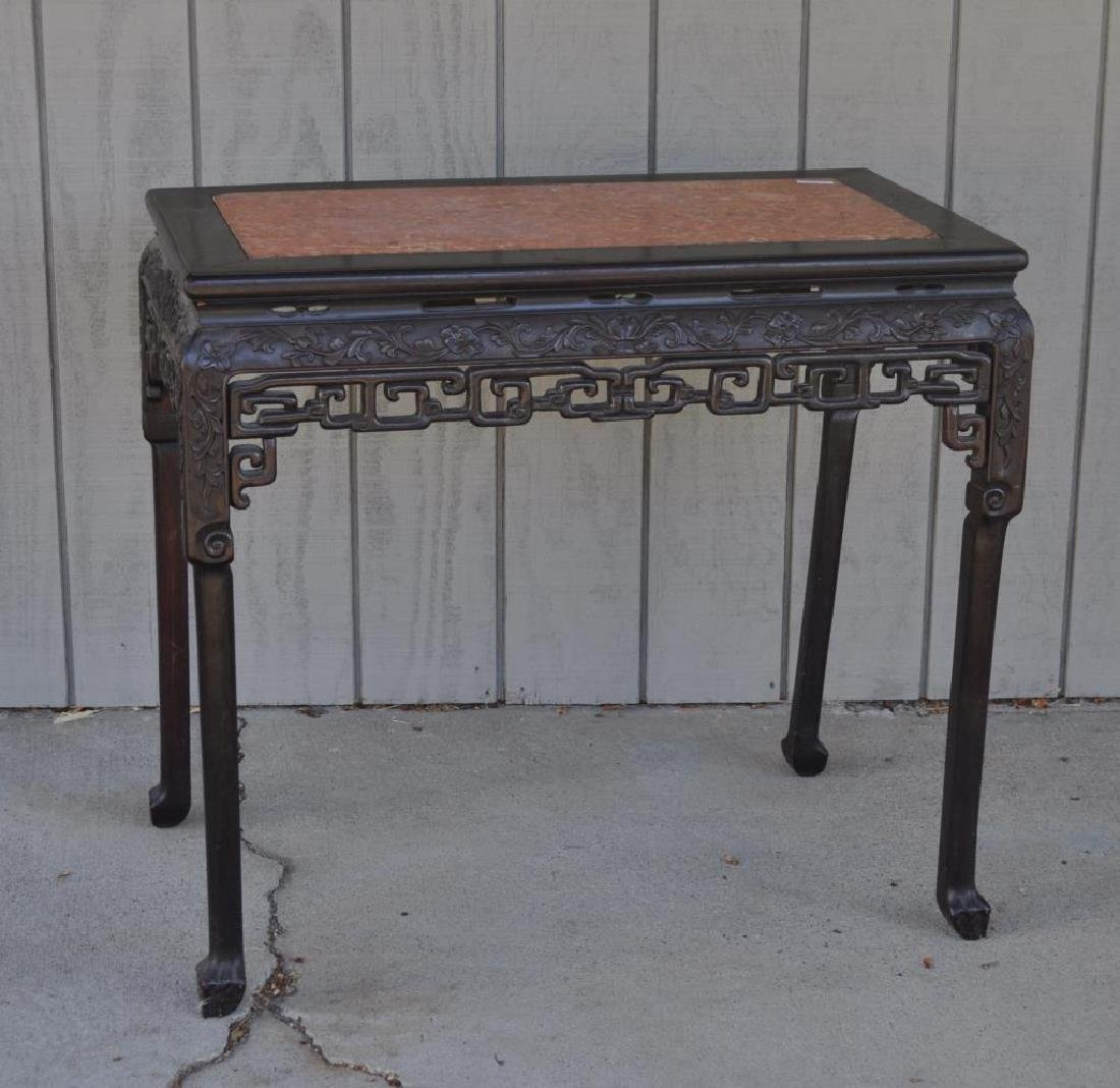 Chinese Carved Hardwood Marble Top Altar Table