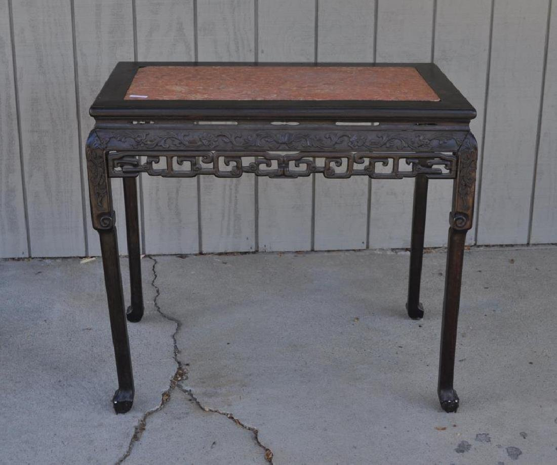 Chinese Carved Hardwood Marble Top Altar Table - 2