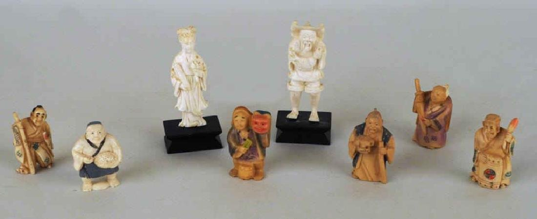 Eight Asian Carved Ivory Figures