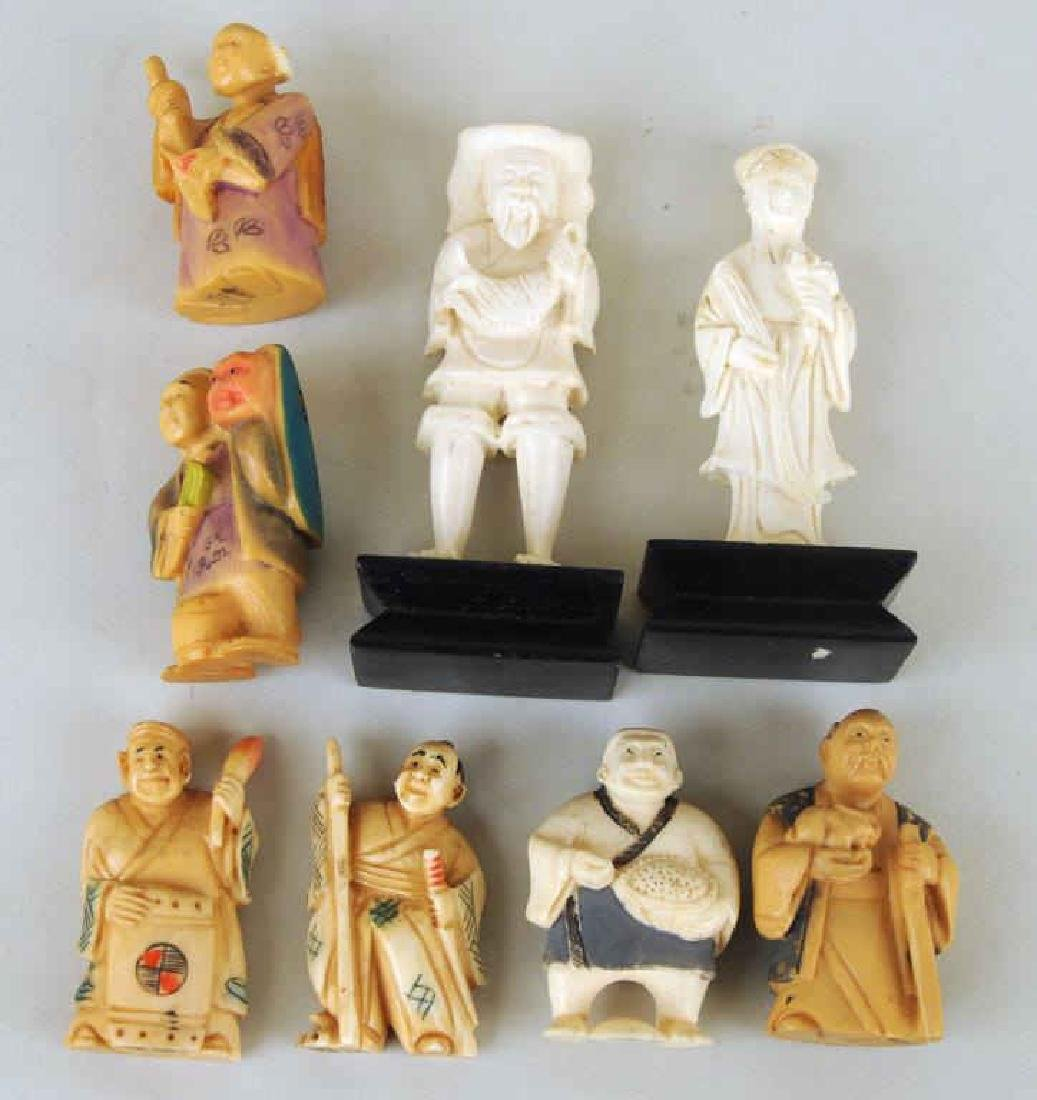 Eight Asian Carved Ivory Figures - 3