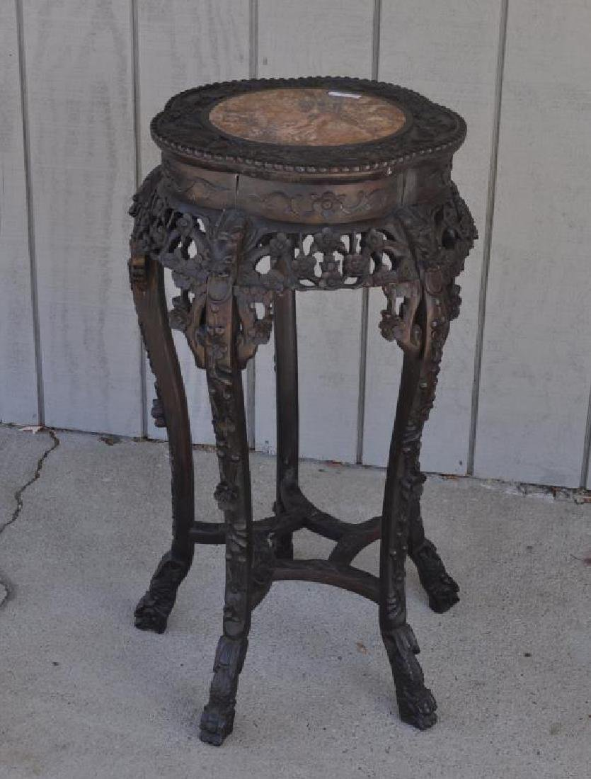 Chinese Carved Wood Stand W/Marble Top