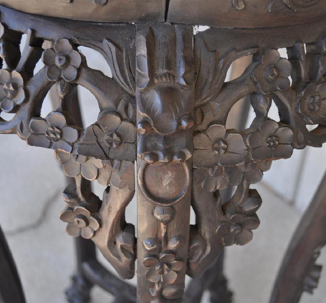 Chinese Carved Wood Stand W/Marble Top - 6