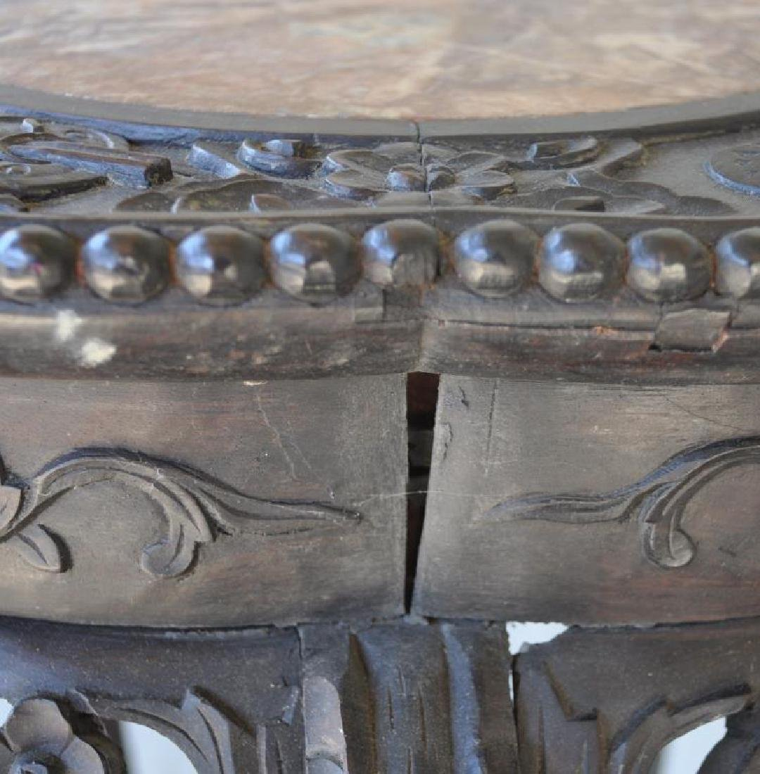 Chinese Carved Wood Stand W/Marble Top - 7