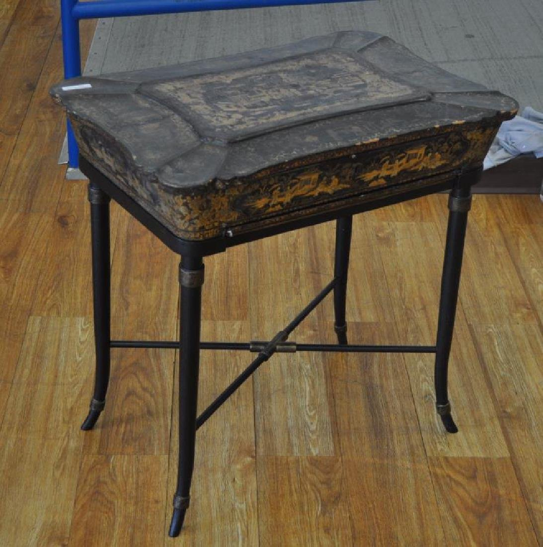 Chinese Black Lacquer Work Table/Stand