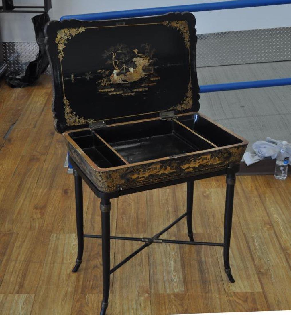 Chinese Black Lacquer Work Table/Stand - 2