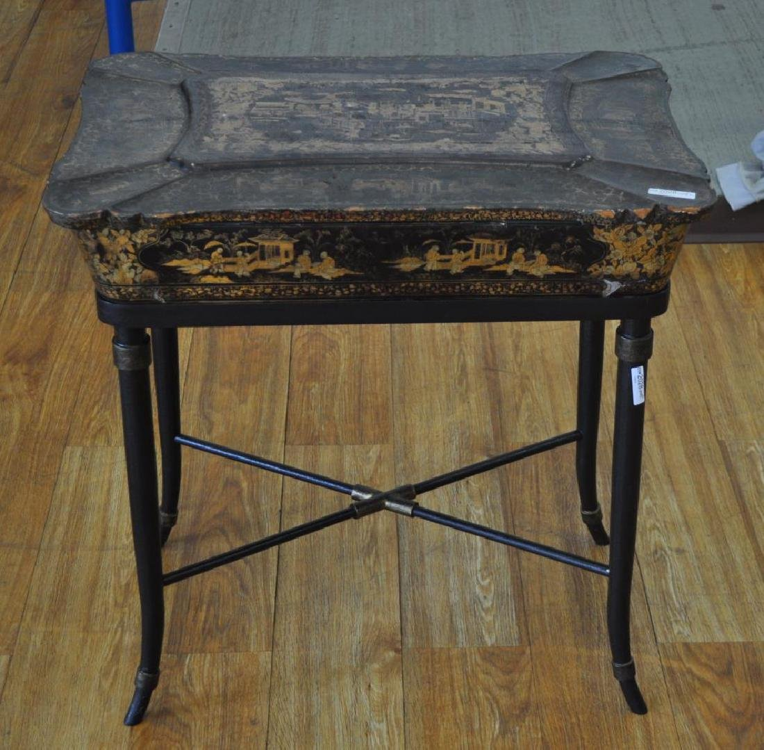 Chinese Black Lacquer Work Table/Stand - 3