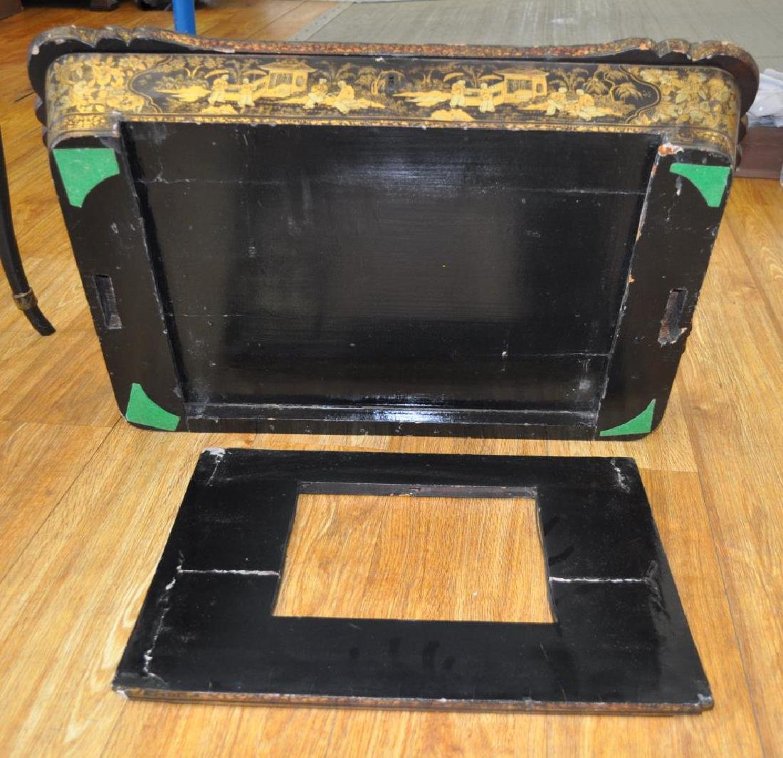 Chinese Black Lacquer Work Table/Stand - 4