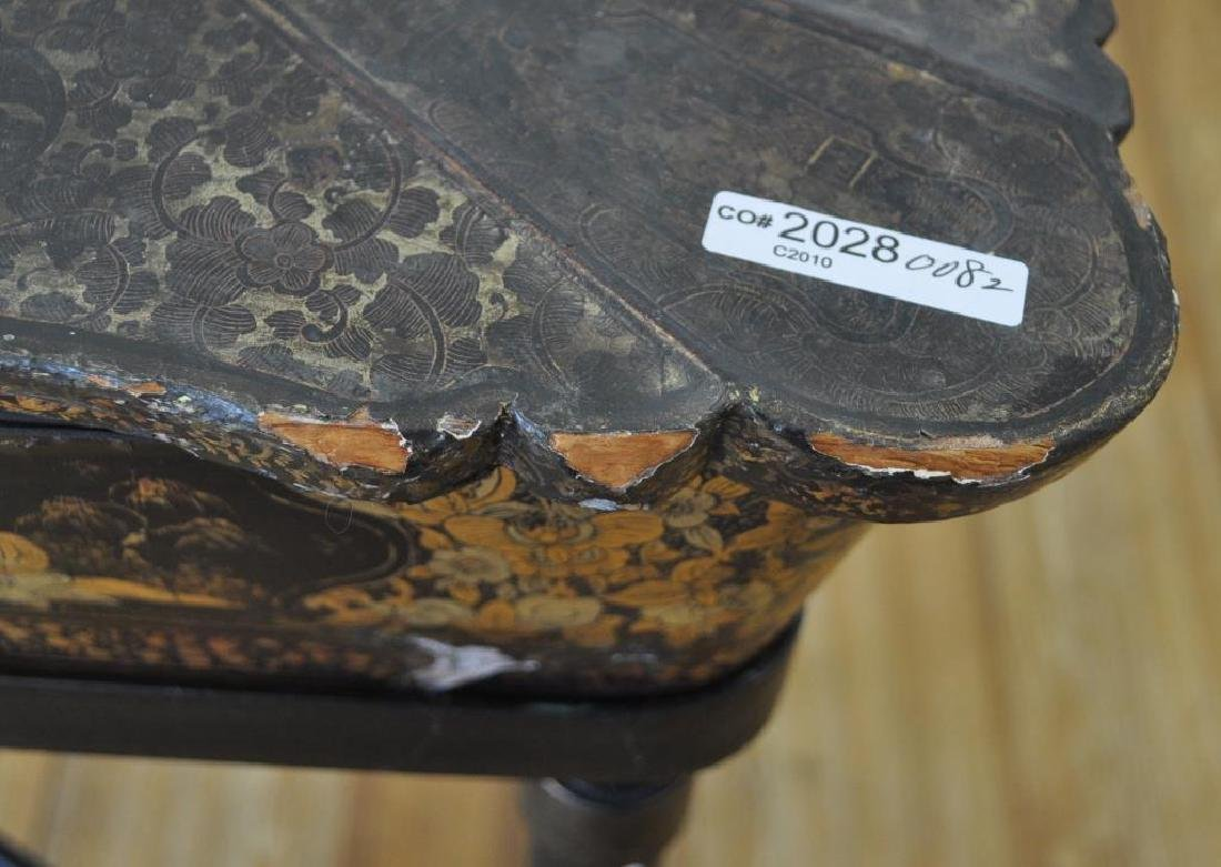 Chinese Black Lacquer Work Table/Stand - 6