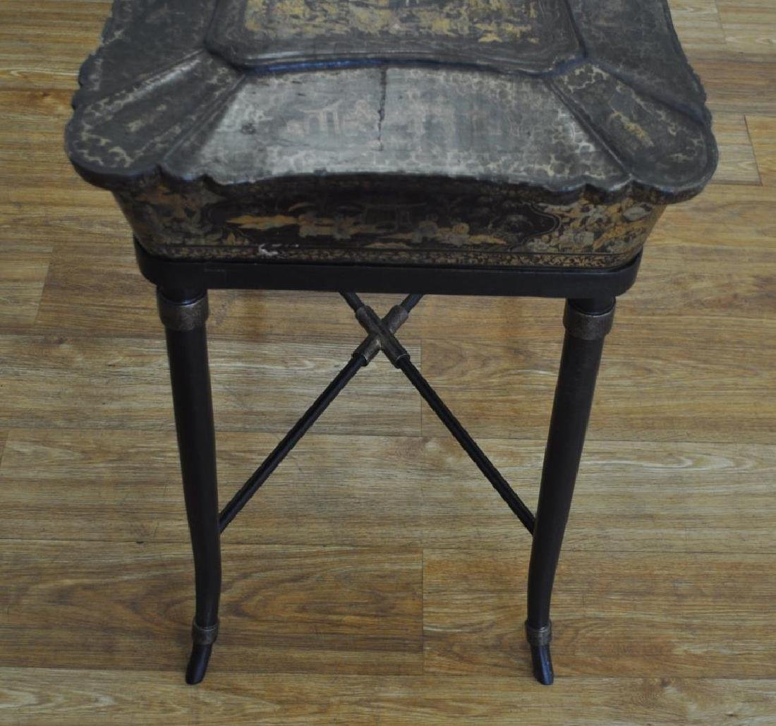 Chinese Black Lacquer Work Table/Stand - 9