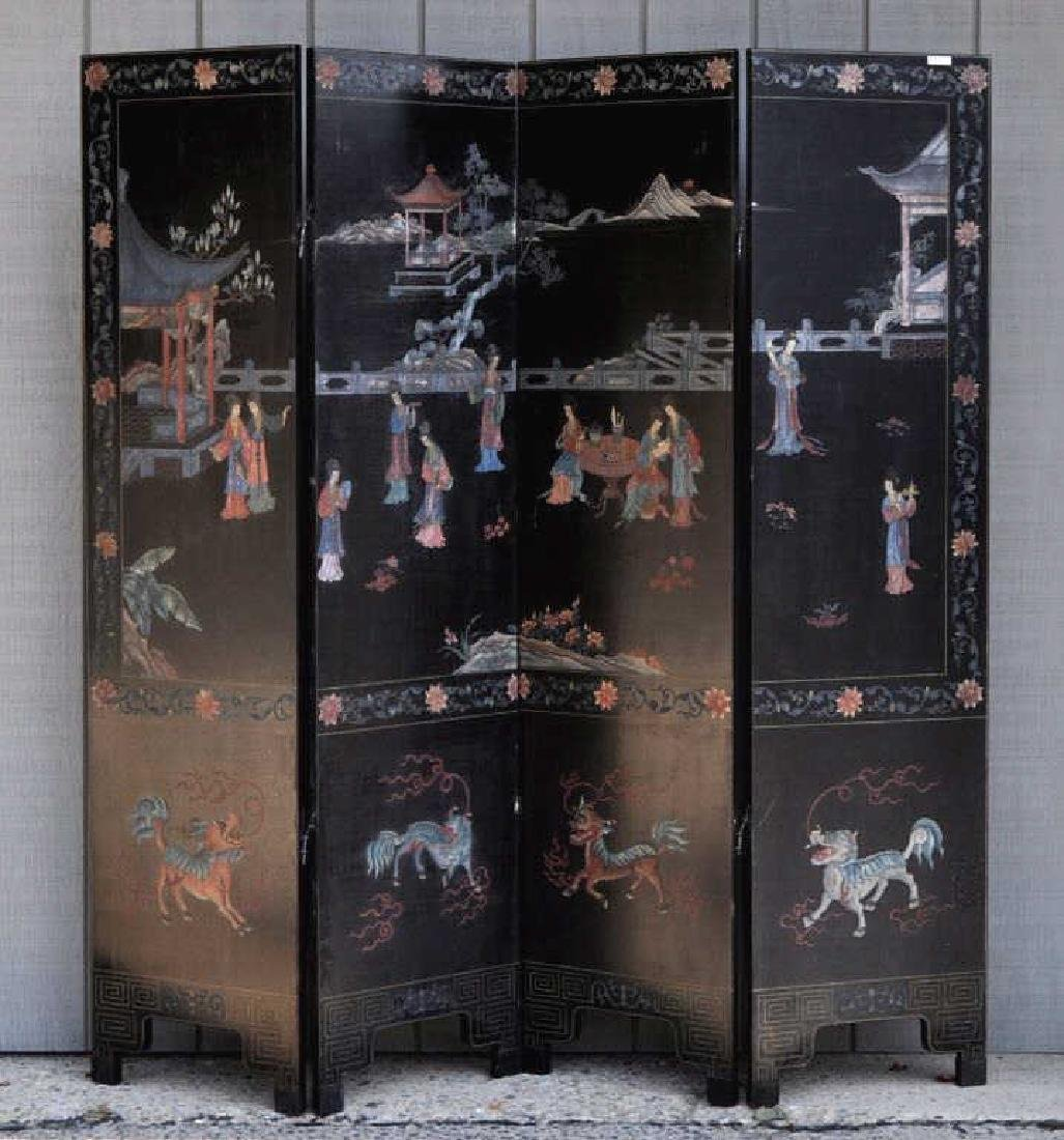 Chinese Lacquer Four Panel Folding Screen