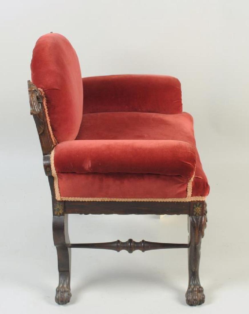Victorian Carved Velvet Upholstered Chair - 3