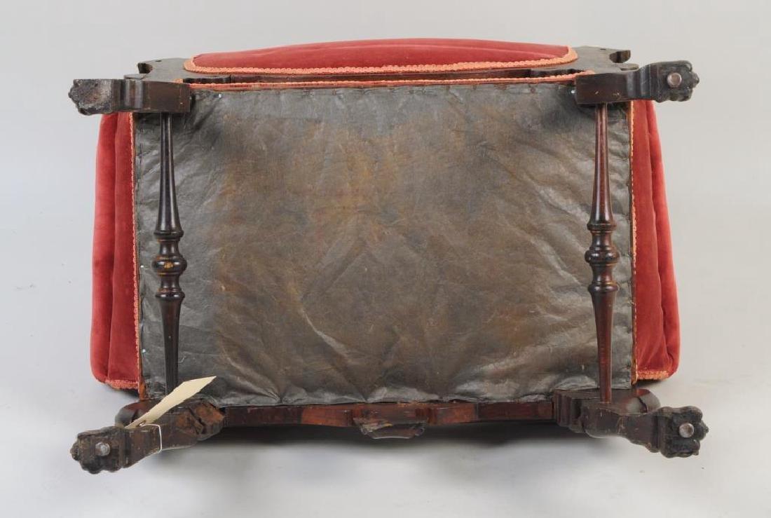 Victorian Carved Velvet Upholstered Chair - 4