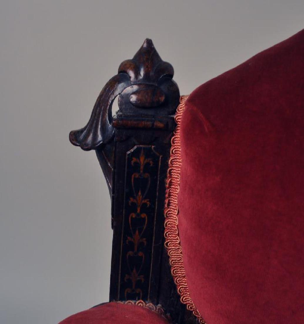 Victorian Carved Velvet Upholstered Chair - 5