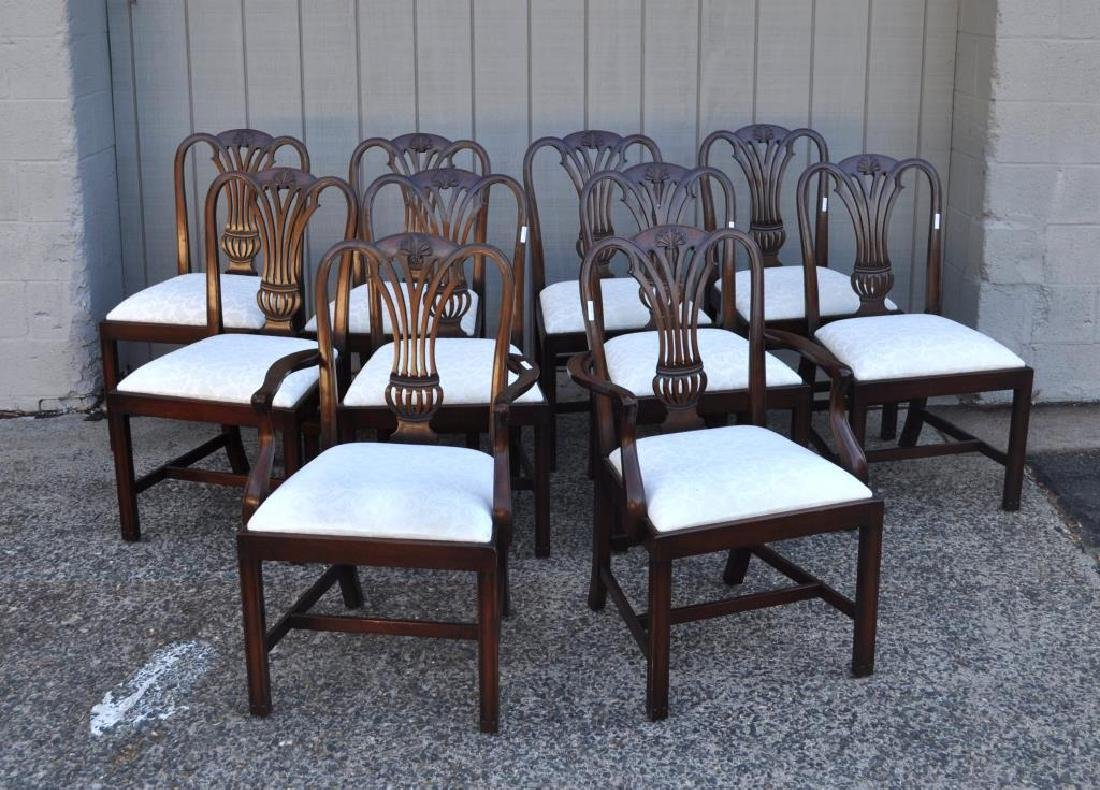 Set Ten Chippendale Style Mahogany Dining Chairs