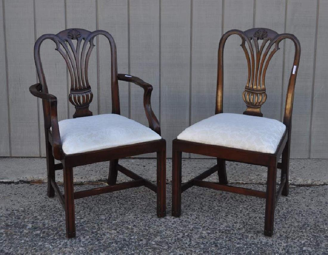 Set Ten Chippendale Style Mahogany Dining Chairs - 2