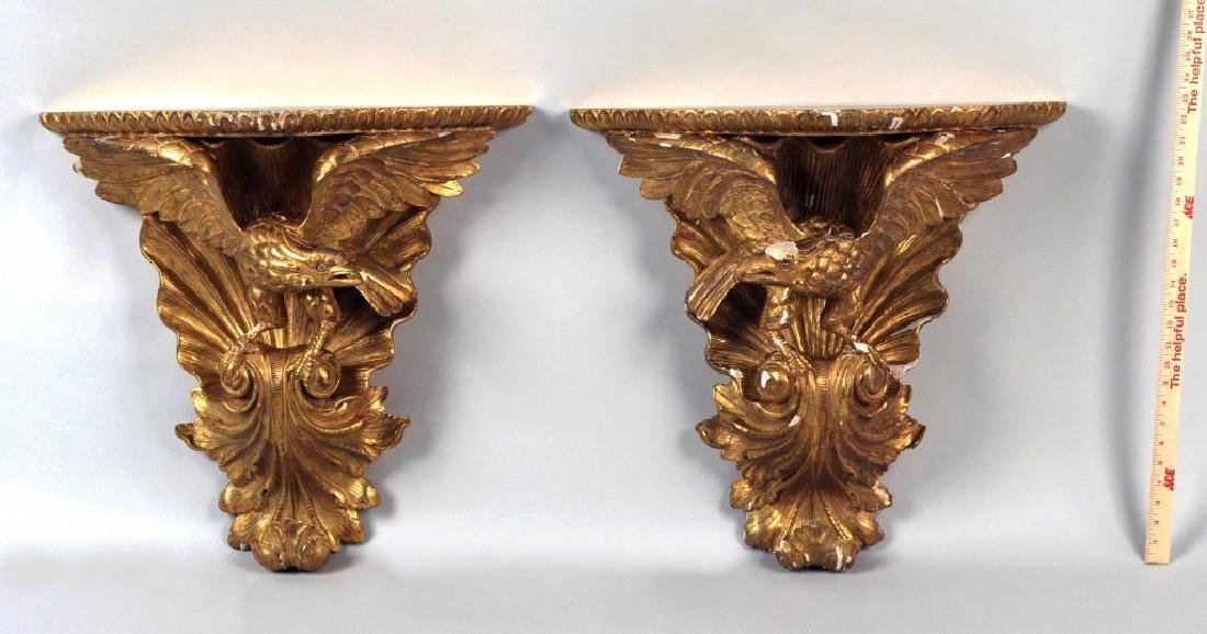 Pair Carved & Gilded Eagle Form Wall Brackets