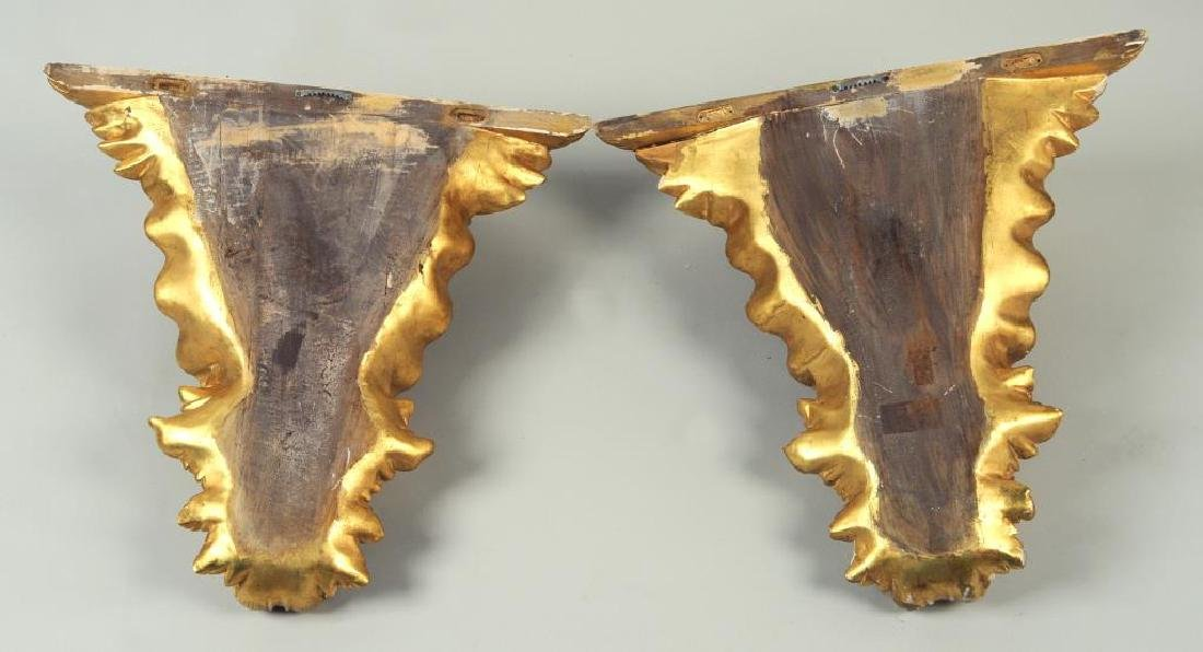 Pair Carved & Gilded Eagle Form Wall Brackets - 2