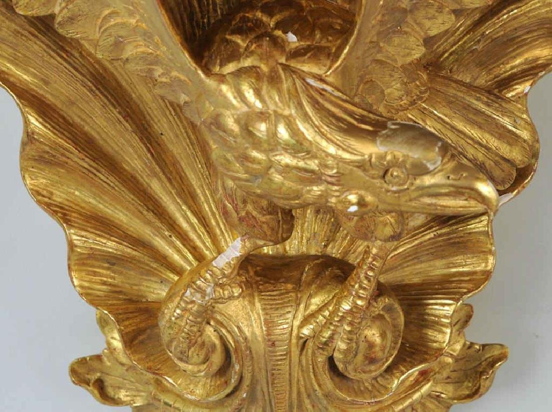 Pair Carved & Gilded Eagle Form Wall Brackets - 6