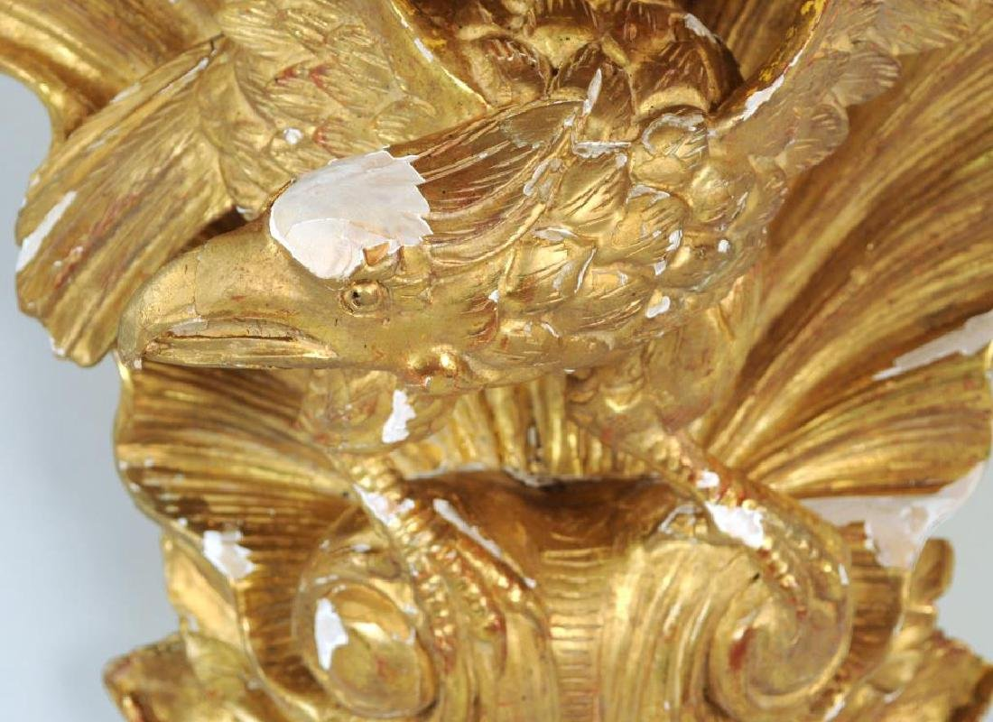 Pair Carved & Gilded Eagle Form Wall Brackets - 7