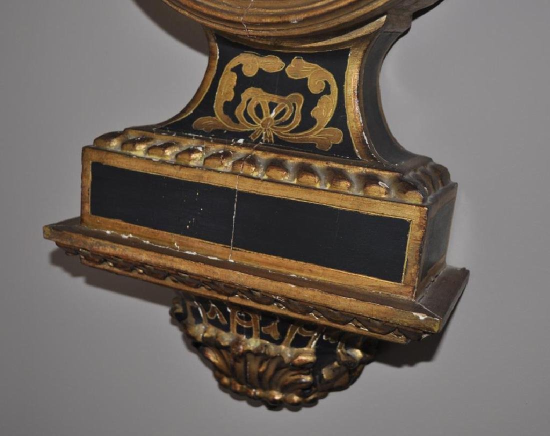 French Decorated Gilt Barometer Form Clock - 5
