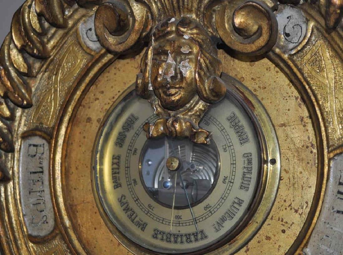 French Decorated Gilt Barometer Form Clock - 6