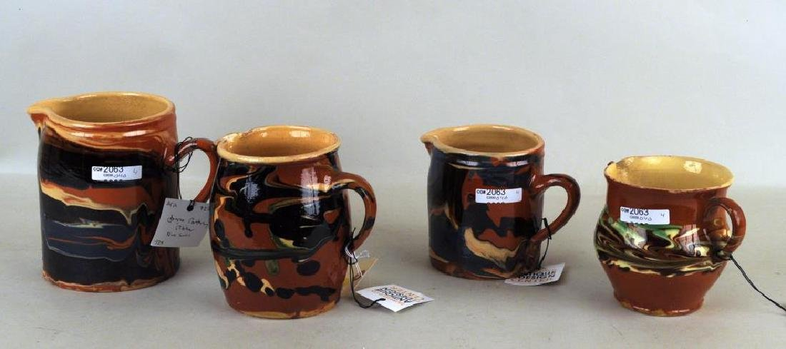 Group Four French Jaspe Slip Decorated Pitchers - 2