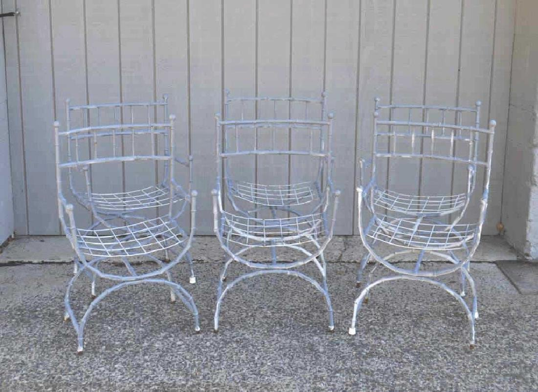 Six Faux Bamboo Painted Metal Garden Armchairs