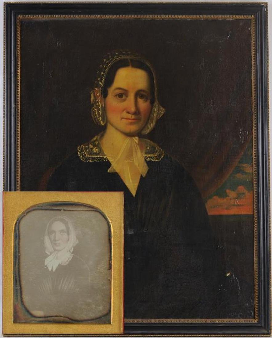 American Folk Art Portrait, Gertrude Schuyler O/C