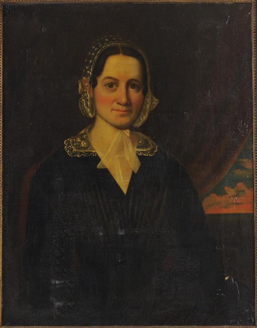 American Folk Art Portrait, Gertrude Schuyler O/C - 4