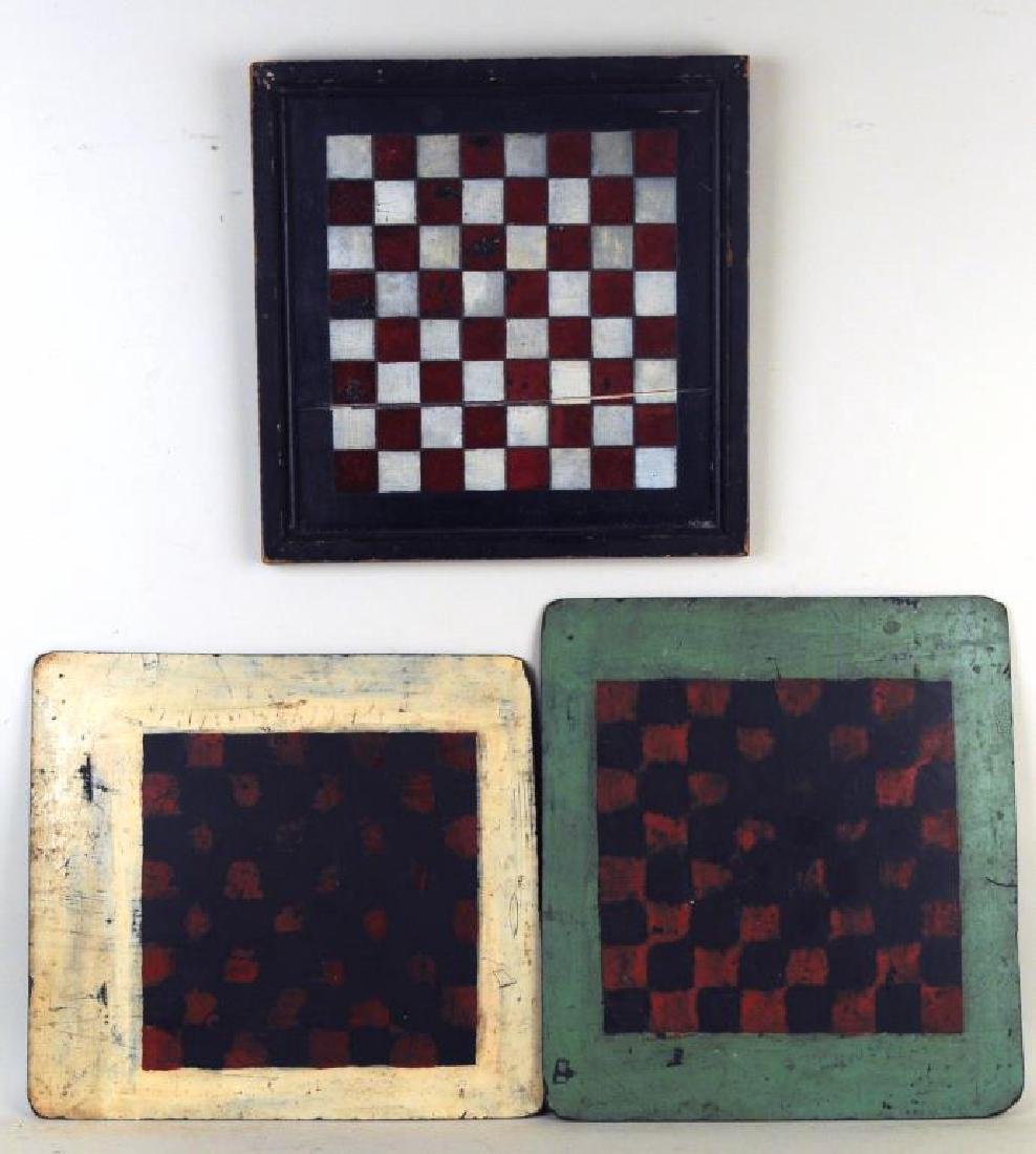 Three Folk Art Painted Wood Game Boards