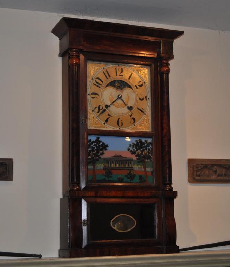 Large Federal Eglomise Mantle Clock