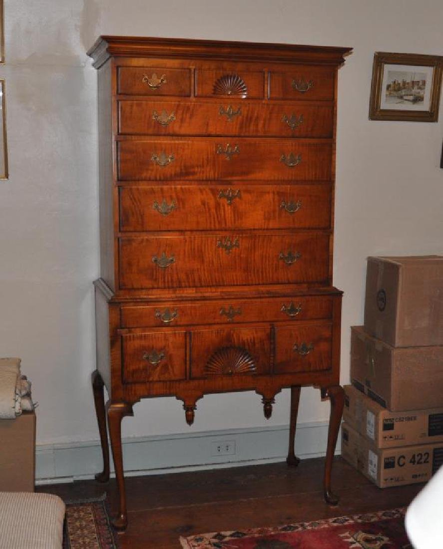 E. Wheeler, Queen Anne Style Tiger Maple Highboy