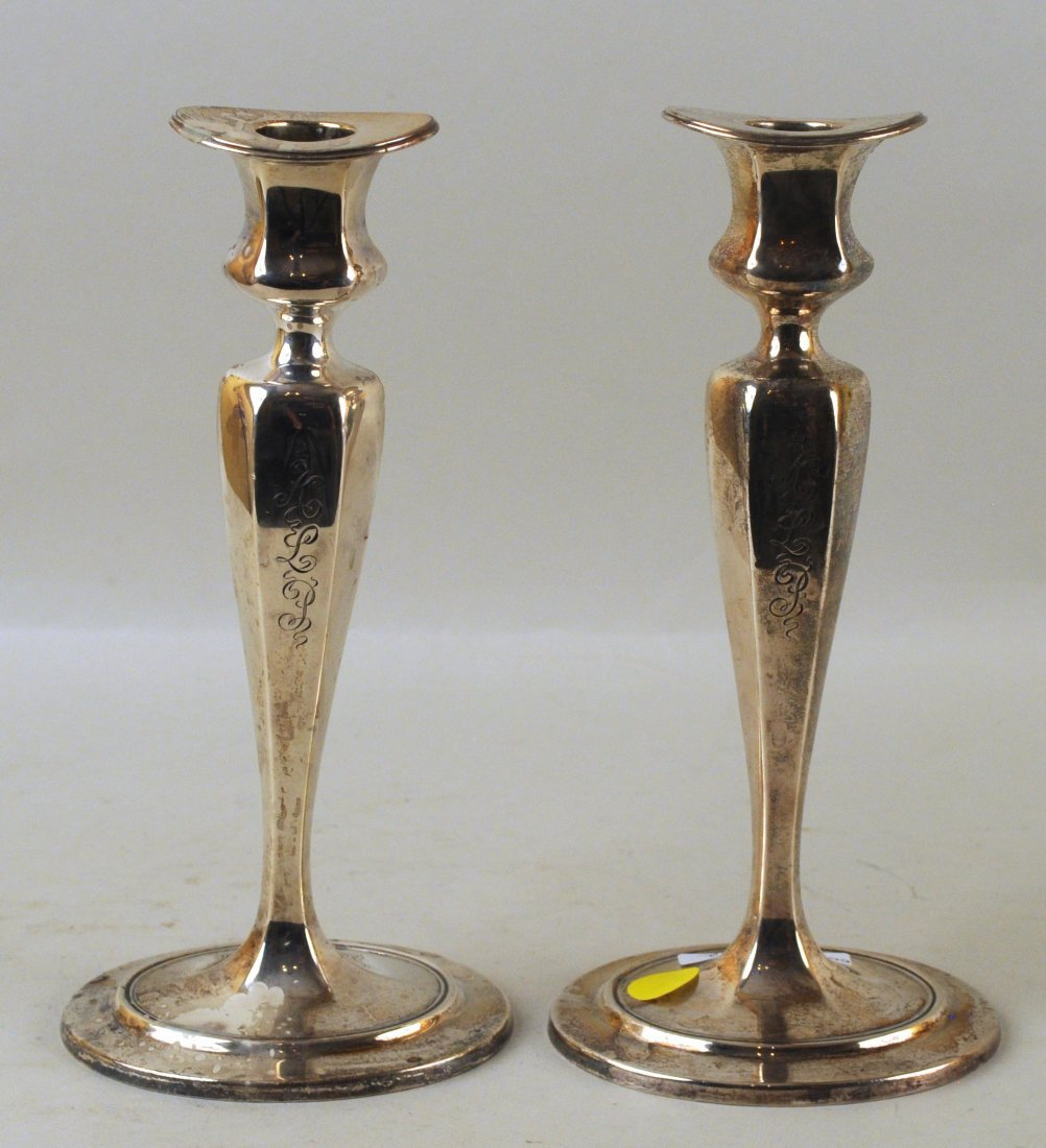 Pair Tiffany & Co. Sterling Weighted Candlesticks