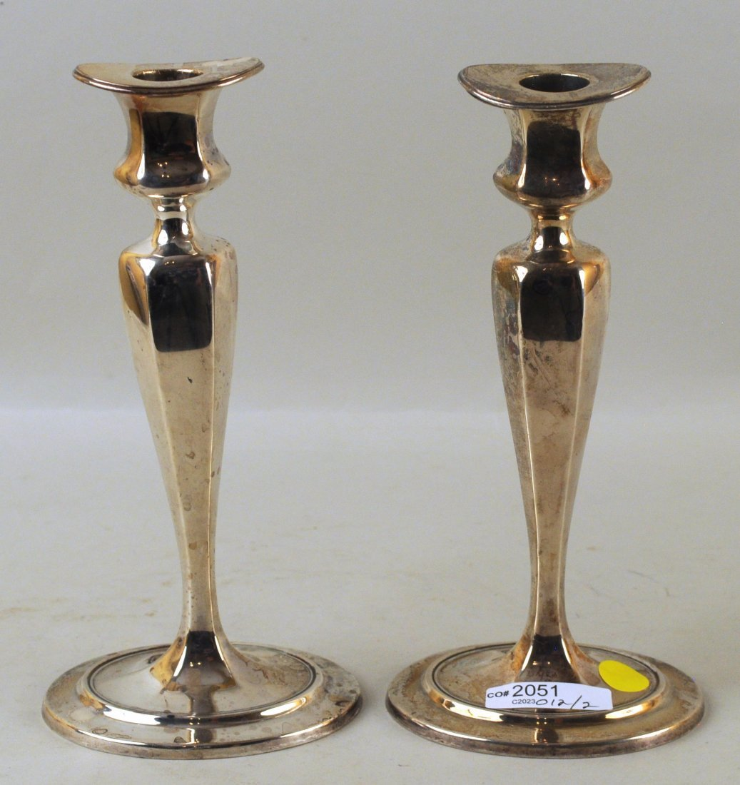 Pair Tiffany & Co. Sterling Weighted Candlesticks - 2