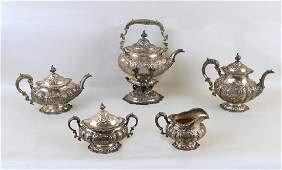 Early Gorham Sterling Five Piece Tea Set