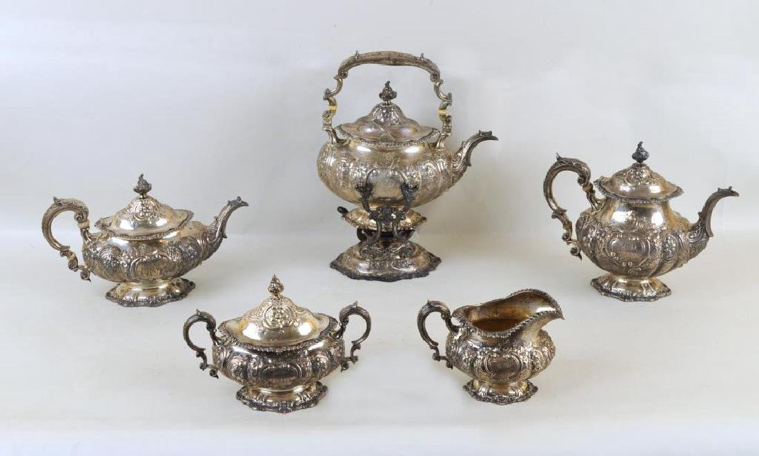 Early Gorham Sterling Five Piece Tea Set