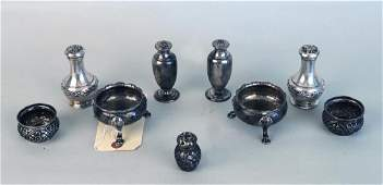 Group Assorted Sterling SaltsPeppers