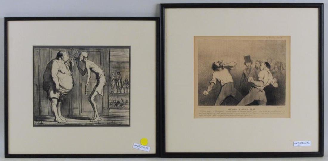 2 Honore Daumier Lithographed Illustrations