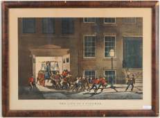 Currier and Ives Print The Life of a Fireman